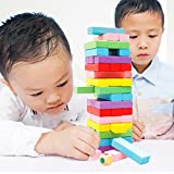 Silvercell Kids Developmental Toys Wooden Tumbling Tower Rainbow Jenga Games