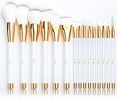 Qivange Makeup Brushes with Pouch, Black with Gold (15 pcs)