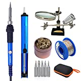 Sywon 60W 110V Electric Soldering Iron Kit, Adjustable Temperature Welding Iron, Magnifier Station, 5pcs Tips, 1.0mm 50 Gram Solder Wire, Desoldering Pump, and Tips Cleaner in Carry Bag