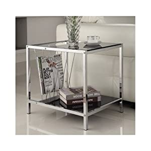 Metal Glass Top End Table Living Room Chrome Side With Magazine