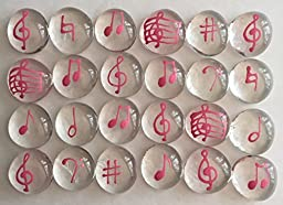 Jazzy Glass Gems, Hand Painted Set of 24, Party Supplies, Party Favor, Decoration, Pink Music Notes
