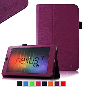 FINTIE (Purple) Slim Fit Folio Stand Leather Case Cover for Google Asus Nexus 7 Inch Android Tablet -9 Color Options