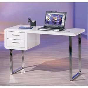 Contemporary Claude Computer Desk In High Gloss White Kitchen Home