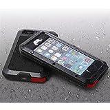 Aursen Handy Spritzwassergeschützt Flip Etui Schale fuer iPhone 5 5S (Schwarz/Rot)