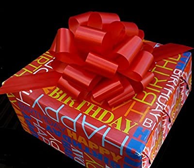 """Red Ribbon Pull Bows for Christmas Gifts - 9"""" Wide, Set of 6"""