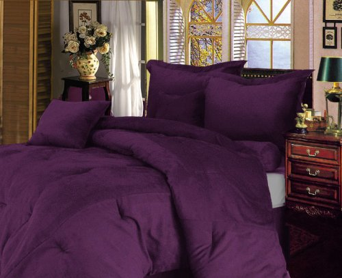 7 Pieces Solid Lavender Purple Micro Suede Comforter/bed-in-a-bag Set Full Size Bed