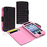 Wallet Leather Case compatible with Apple iPhone 4 / 4S, Black / Pink Dot