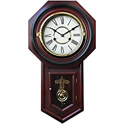 HENSE Chiming Regulator Mechanical Wind-Up Clocks Wall Clock with Swinging Pendulum,Color-Mahogany HP31 (#B)