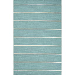 Addison and Banks Flat-Weave Stripe Pattern Wool Area Rug, 8\' x 10\', Blue