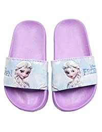 Disney Frozen Elsa Anna Girl's Purple Slides Lightweight Sandals