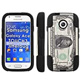 Thousand Dollar Bill, Mobiflare Armor Kick Flip Grip Case for [Samsung Galaxy Ace Style S765 | Touch 3 | Jitterbug],Black