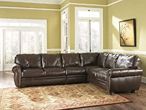 100% Genuine All Leather Walnut Upholstery Sectional Sofa with Extension Armless Chair Set