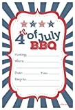 4th of July BBQ Party Invitations - Fill In Style (20 Count) With Envelopes