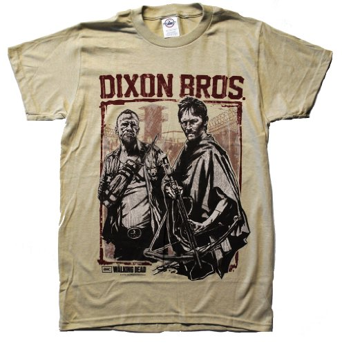 Changes The Walking Dead Dixon Bros. Woodblock Stamp Mens T-Shirt, Natural, Small (Wood Brothers T Shirt compare prices)