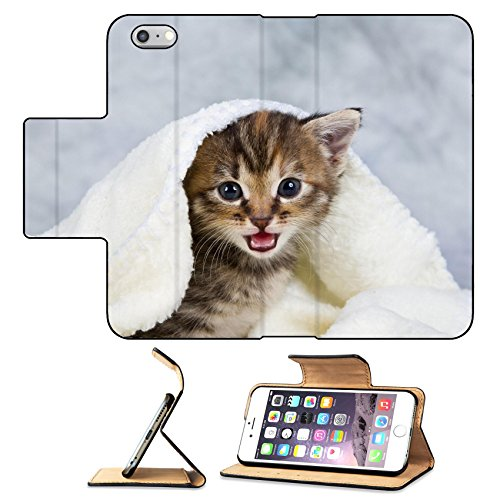 Luxlady Premium Apple iPhone 6 Plus iPhone 6S Plus Flip Pu Leather Wallet Case Kitten closed in towel warm sleepy small white IMAGE 20821242