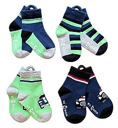 Ez Sox Kids Socks Seamless toe (4 pairs, Cars, Blue Solids-Stripes)