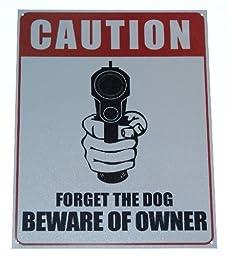 Sign Tin Metal Caution..Beware of Owner-Garage Bar Sign