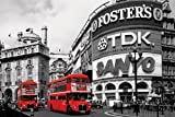 Iposters London Bus In Piccadilly Circus Poster Gloss Laminated