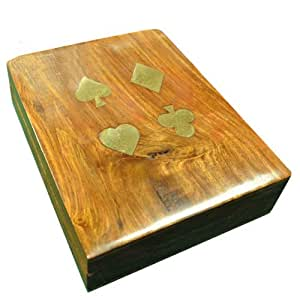 Two Deck Wooden Card Box decorated with brass inlay suit designs