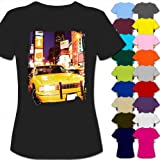 Yellow Taxi Cab In New York Times Square USA Womens Ladies Cotton Short Sleeve T-Shirt - Sizes XS S M L XL 2XL, 8 10 12 14 16 18