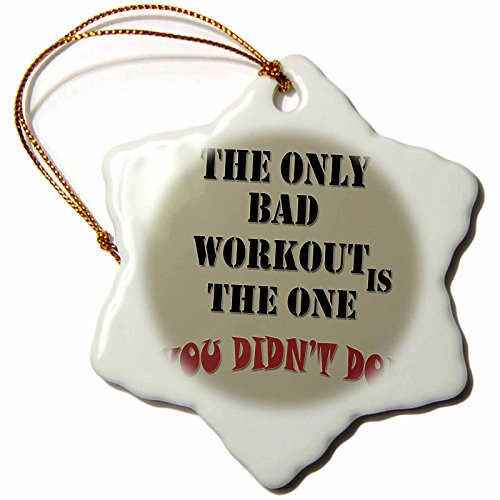 3dRose RinaPiro - Fitness - Keep calm and build muscles. Fitness saying. - 3 inch Snowflake Porcelain Ornament (orn_220654_1)