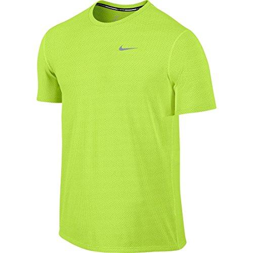Nike Dri-Fit Contour Ss Maglia da Running, Volt/Reflective Silver, M