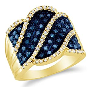 Size 8 - 10K Yellow Gold White and Blue Diamond Cross Over Wedding , Anniversary OR Fashion Right Hand Ring Band - w/ Channel Set Round Diamonds - (.77 cttw)