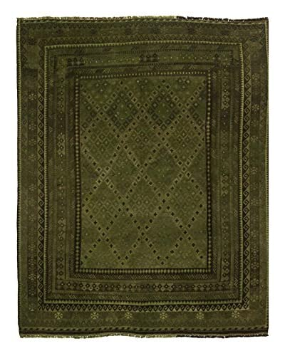 nuLOOM One-of-a-Kind Hand-Knotted Vintage Overdyed Kilim Rug, Olive, 8' 2 x 10'