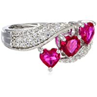 Sterling Silver Heart Shape Created Ruby Round Created White Sapphire Ring, Size 8