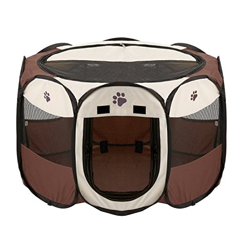 foldable-dog-cat-playpen-yard-security-kennel-mesh-shade-cover-fence-tent-for-indoor-outdoor