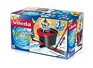 Vileda 133877 EasyWring Ultramat Komplett-Set mit Powerschleuder - Ultramat Bodenwischer mit Mikrofaserbezug + Rotationseimer mit Powerschleuder - kein Bücken, keine nassen Hände - bekannt aus TV