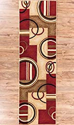Deco Rings Red Geometric Modern Casual Rug 2x7 ( 2\'3\