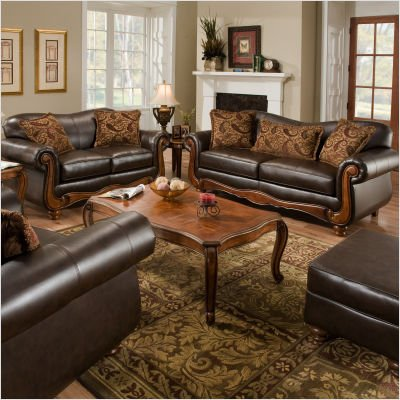 Picture of American Furniture Bentley Bonded Leather Sofa and Loveseat Set (1593 / 1592) (Sofas & Loveseats)