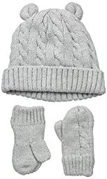 The Children\'s Place Baby Hat and Mittens Set, Bear/Grey, Small/12-24 Months