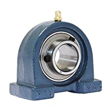 "FYH UCPA205-16 Pillow Block Mounted Bearing, 2 Bolt, 1"" Inside Diameter, Set screw Lock, Cast Iron, Inch"
