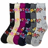 Luxury Divas Beautiful Floral Printed Multi Color Assorted 6 Pack Crew Socks