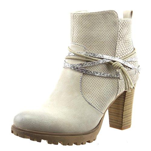 Sopily - Scarpe da Moda Stivaletti - Scarponcini alla caviglia donna pelle di serpente tanga metallico Tacco a blocco tacco alto 8 CM - Grigio FRF-12-F592 T 37