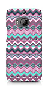 Amez designer printed 3d premium high quality back case cover for HTC One M9+ (purple aztec)