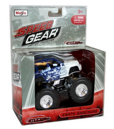 "Maisto Speed Gear Die-Cast 4"" Earth Shockers Blue and White SUV"