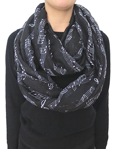 Lina & Lily Women's Musical Notes Print Infinity Loop Scarf (Black)
