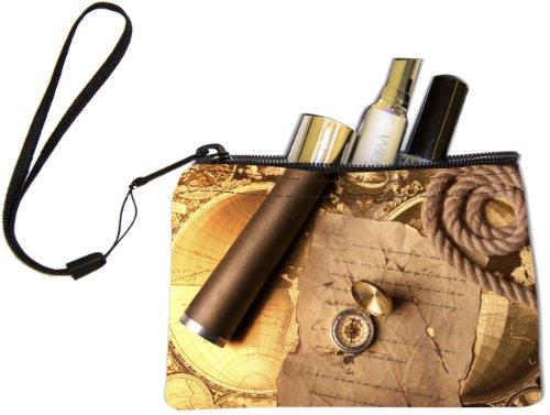 Rikki Knighttm Vintage Navigation Compass Map And Telescope Keys Coins Cards Cosmetic Mini Clutch Wristlet