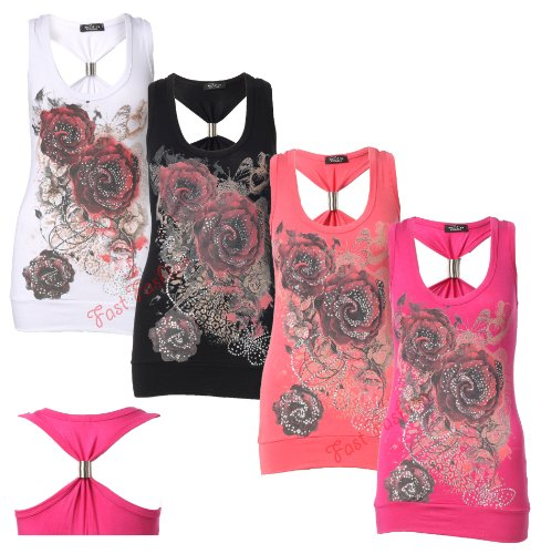Womens Sleeveless Spring Coil Back Rose Print