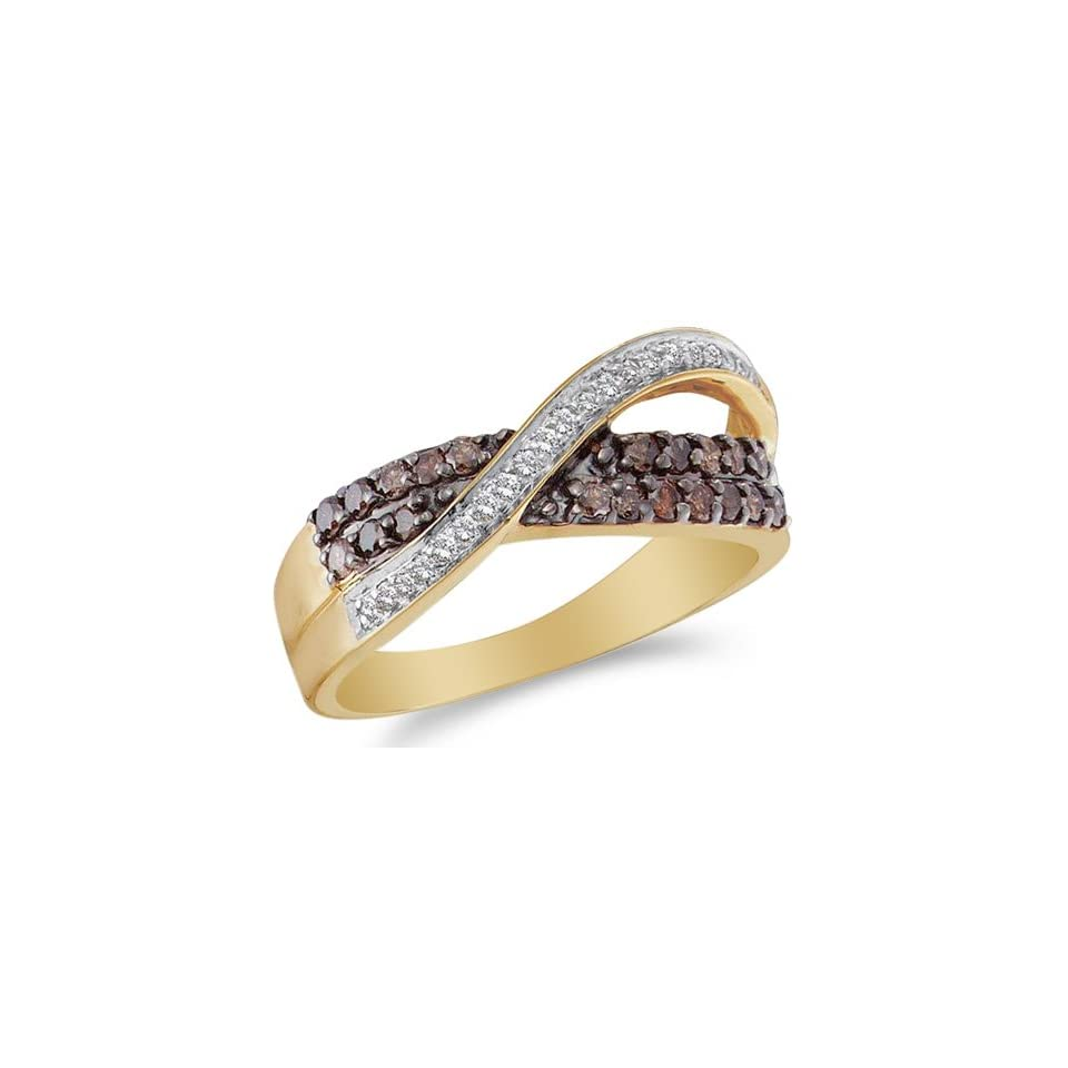 Size 9   14K Yellow and White Two Tone Gold White and Chocolate Brown Diamond Cross Over Wedding , Anniversary OR Fashion Right Hand Ring Band   w/ Channel Set Round Diamonds   (1/2 cttw)