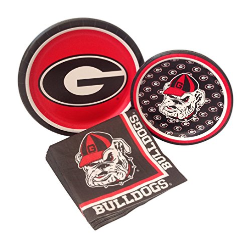 University of Georgia Bulldogs Party Supply Pack! Bundle Includes Paper Plates & Napkins for 8 Guests (Georgia Bulldog Party Supplies compare prices)