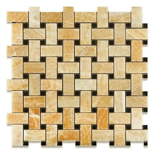 "Honey Onyx Polished Basketweave Mosaic Tile w/ Black Dots - 6"" X 6"" Sample"