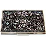 Antique Alive Mother of Pearl Arabesque Design Metal Business Credit Stainless Steel Engraved Slim Money Wallet (B123)