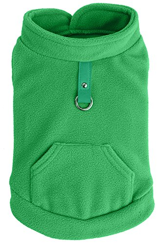 EXPAWLORER Fleece Autumn Winter Cold Weather Dog Vest Harness Clothes with Pocket , Green Medium (Jackets For Bulldogs compare prices)