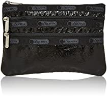 Classic 3 Zip Cosmetic Case Cosmetic Bag, black Crinkle Patent, One Size
