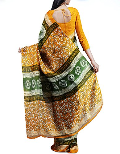 Unnati Silks Women Pure Handloom Pashmina soft silk Green and Yellow Saree
