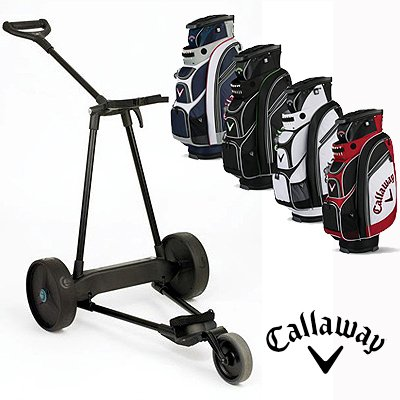 New! Emotion E3 23Lbs Pull Push Electric Motorized 3-Wheel Golf Cart Trolley + New! Callaway Org 14S Cart Bag
